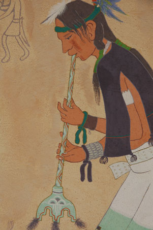 "Suina has married prehistory with contemporary history by featuring a contemporary Pueblo flute player superimposed on a cave-like textured background featuring outlined petroglyph-style flute players, a reference to how things have not changed in centuries for the pueblo people.  He painted on a background that appears to be like sandstone which he achieved through spray and spatter which is appropriate for this petroglyph-inspired design.  The appearance is that the Pueblo flute player is playing his flute in front of a wall of petroglyph flute players.  Such paintings garnered awards for the artist.  Suina was born at Cochiti Pueblo in 1918 and is still living.  He survived a broken neck as a youngster by concentrating on painting seriously.  His teachers at the Cochiti Pueblo day school and Geronimo Montoya at the Santa Fe Indian School encouraged him to continue.  In 1939, architect John Gaw Meem commissioned a number of Native artists to paint murals on a building he designed for the Maisel Company in Albuquerque.  Popovi Da, Pablita Velarde and Pop Chalee painted northern Pueblo subjects, while Ben Quintana, Ku-Pe-Ru and Joe H. Herrera did Keres  motifs.  Other Indians painted subjects from their tribal affiliation.  Ku-Pe-Ru painted a Corn Dancer.  Dorothy Dunn states ""Cochiti themes in both abstract and semi-naturalistic styles are pursued by Ku-Pe-Ru who draws from present-day ceremonials as well as prehistoric motifs on rocks and pottery.  The painting is signed and dated 1961 in lower right.  It is framed without glass.  Condition:  Overall, it is in excellent condition. There is one arched scratch in the background just above the Flute Players head.  Provenance: from the collection of Katherine H. Rust  Recommended Reading: American Indian Painting of the Southwest and Plains Areas by Dorothy Dunn"