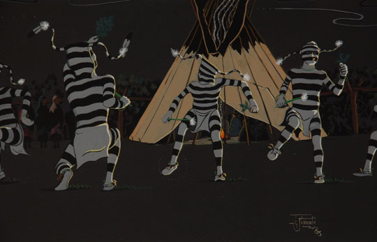 Vicenti has painted with all types of media and portrayed a large variety of subjects, but his prime theme is centered among his Jicarilla Apache culture.  This painting of a Clown Society Ceremony is strikingly dramatic.  Painted on black paper to portray a night ceremony renders the entire painting in shades of grey and black with highlights of a fire and a teepee in color.  Scattered in the background is a variety of colorfully clothed spectators, not easily visible at first.  Vicenti, born at Dulce, New Mexico, attended Albuquerque High School, Haskell Institute, Brigham Young University and several other Utah colleges as well as the National University of Mexico in Mexico City.  He studied art in all of these schools so he was very well trained as an artist. It is no surprise, then, that he was an art instructor at one time.  He also garnered many awards during his career.  This painting is the first by this artist that we have ever had in the gallery and we are most impressed with his rendering of the subject matter and the manner of his style and quality of his work.  Condition:  The painting has just been re-framed using acid-free materials and put back into the original black wood frame.  Provenance: from the collection of Katherine H. Rust  Recommended Reading: Southwest Indian Painting a changing art by Clara Lee Tanner