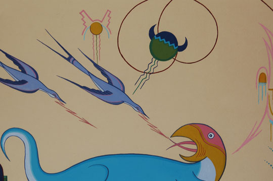 "A typed note on the original brown paper on verso of these painting states:   ""In the origin stories of the Indians they mention the pre-historic animals, each of giant proportions.  The water turkey was adored by the Indians and to this day, feathers are still used in their sacred ceremonies.  ""This painting is a perfection of the elements.  The swirling lines are the movements of the wind.  The piled up clouds releasing rain on symbols of the high mountains—the growing grass and the sun that caused its growth, and the female moon at the top center—the symbol of fertility."""