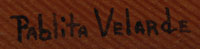 Signature of Pablita Velarde (1918-2006) Tse Tsan - Golden Dawn