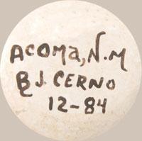Barbara & Joseph Cerno Southwest Indian Pottery Contemporary Acoma Pueblo signature