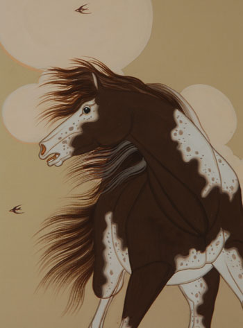 din navajo painting of an appaloosa horse fine art