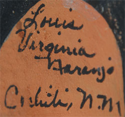Louis and Virginia Naranjo Southwest Indian Pottery Figurines Cochiti Pueblo signature