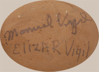 Manuel and Eliza R Vigil | Tesuque Pueblo | Southwest Indian Pottery | Figurines | Nacimiento | signature