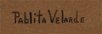 signature of Pablita Velarde (1918-2006) Tse Tsan - Golden Dawn
