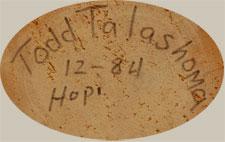 Todd Talashoma (ca 1950 - ) signature