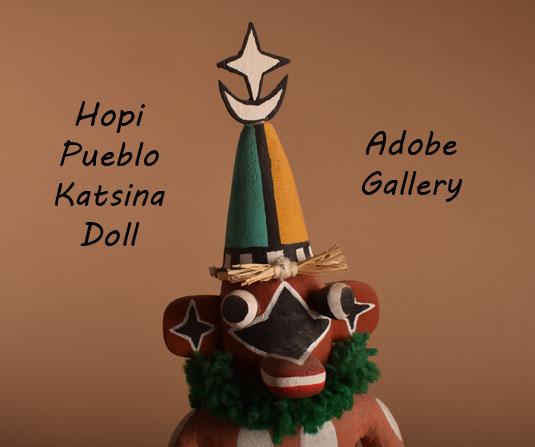 Close up view o the face of this Hopi Katsina Doll.