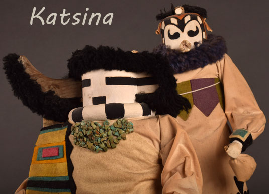 Two Zuni Pueblo extraordinary katsina dolls, made by Duane Dishta in the 1960s.