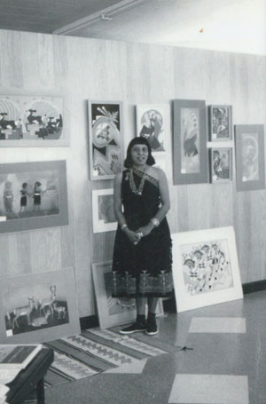 Photo of Pablita Velarde (1918-2006) Tse Tsan - Golden Dawn.  Image Source:  the photo copies (of original polaroids of Pablita Velarde appear courtesy of the person who actually took the photograph.