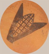 Hallmark signature of Lena Chio Charlie (ca.1908-ca.1960s) Corn Woman