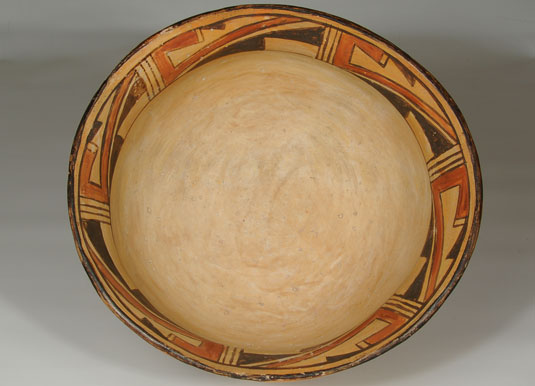 Inside view: Hopi Polychrome Helmet-style Serving Bowl