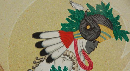 Close up view: Tewa Pueblo Ram Dancer Painting