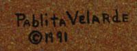 Signature of artist: Pablita Velarde (1918-2006) Tse Tsan - Golden Dawn