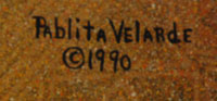 Signature of aritst: Pablita Velarde (1918-2006) Tse Tsan - Golden Dawn