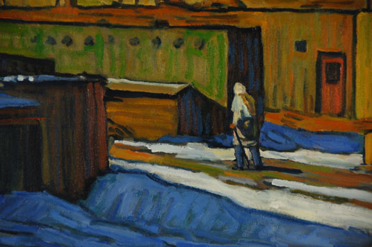 "Close up view: Original Oil on Canvas Painting ""Pueblo View – Winter"" by Robert Daughters"