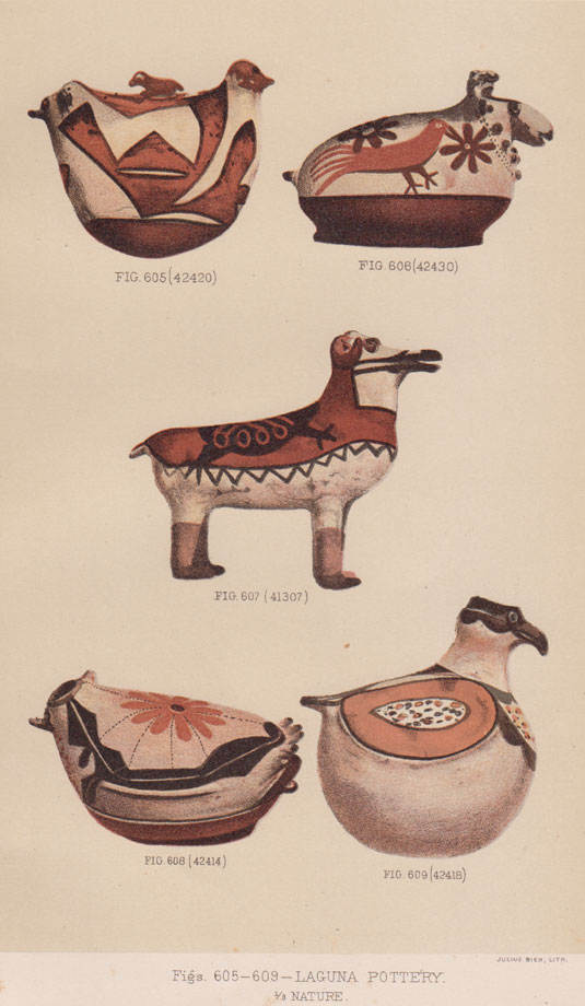 This two-headed bird pottery figure is very similar to one collected by Stevenson in 1879.  The Stevenson one is published in a color plate labeled Figs. 605-609—Laguna Pottery of the 2nd BAE Report. It was one of the few figurines collected in the 1879 visit.