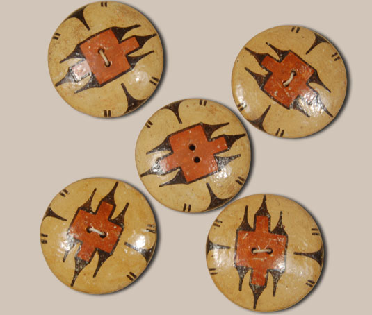 Set of Five Polychrome Pottery Buttons from Zia Pueblo