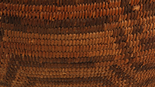 Close up view of the side panel design of this basket.