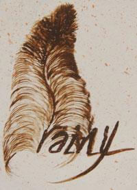 Rainy Naha (b.1965) feather hallmark signature