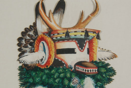 Close up view of the Antelope Katsina image.