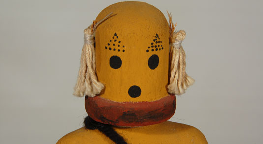 Close up view - Kachina Doll – Hopi Pueblo Susöpa - Cricket Katsina Doll