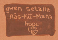 Artist Signature Hallmark - Gwen Sharon Setalla (b.1964-) Aȁs-kữ-Mana