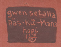 Artist Signature of Gwen Sharon Setalla (b.1964-) Aȁs-kữ-Mana
