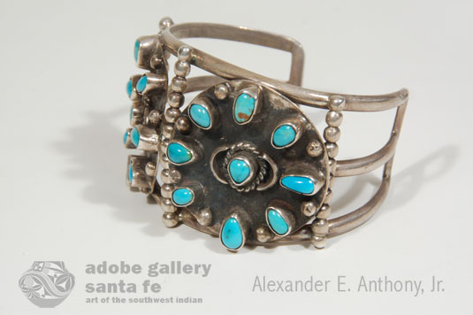 Alternate side view of this Silver and Turquoise Bracelet with two Large Discs