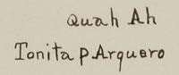 A RARE signature of Tonita Vigil Peña (1893-1949) Quah Ah