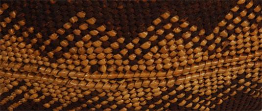 Close up view of side panel design weaving.