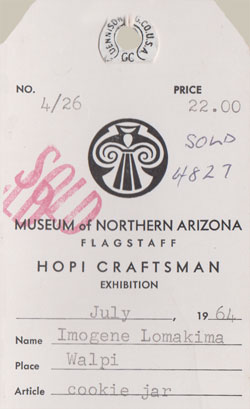 1964 Sales Ticket from the Museum of NOrthern Arizona.