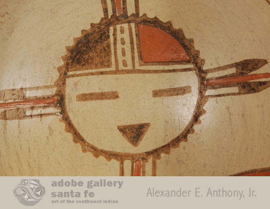 This bowl features a large katsina face as the primary design.