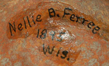 On the bottom of the jar, written in ink, is Nellie B. Ferree 1895 Wis.  It is presumed that this was a previous owner.  Nellie B. Ferree was listed in the Minnesota State Census of 1905 as having been born in 1895 in Illinois and was living, in 1905, in Paynesville, Stearns, Minnesota.