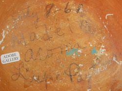 """Written in pencil on the base is """"July 8, '61 Made in Acoma Lupe Paytiamo."""""""