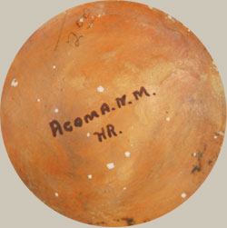 The jar has a concave bottom with the painted Acoma, N.M and the initials HR.  In pencil is written $2.00, an indication of a circa 1930s or 1940s creation.