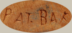 "The artist's signature ""PAT.BAR"" is engraved on the bottom of one of his sculptures (example)."