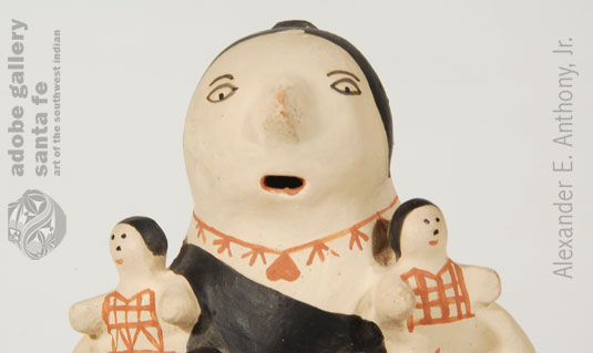 Close up view of this storyteller figurine
