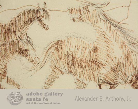This drawing of five horses demonstrates Carl Gorman's talent. Drawn in pen and ink, he has deliberately defined form and created structure with an efficient use of line.  The horses come alive as they gallop across a desert landscape.