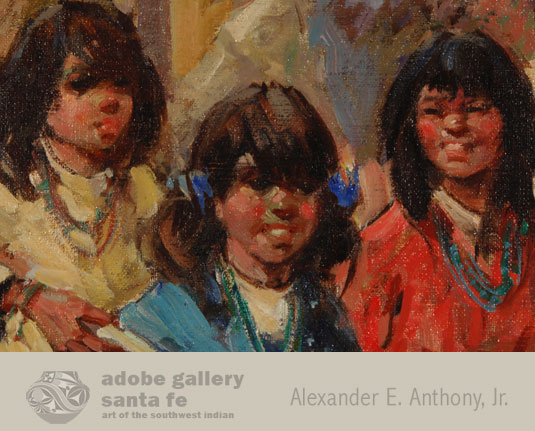Close up view of the girls in this painting.