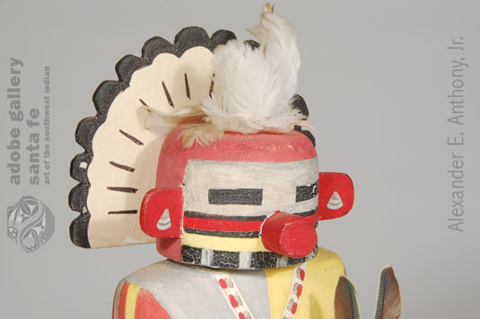Close up of the face of this Hopi Pueblo Katsina Doll.
