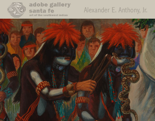 Close up view of the Snake Dancers in this painting.