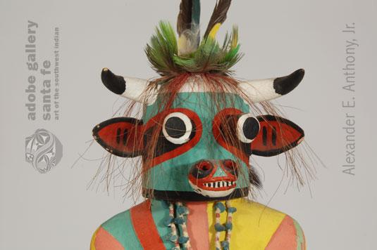 Close up view of kachina face.