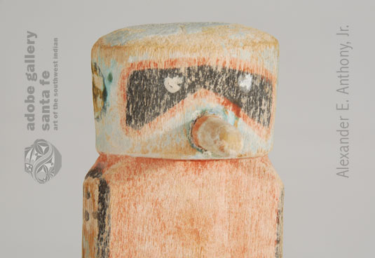 Close up view of the face of this Katsina Doll.