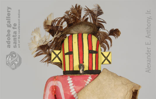 Close-up view of the face of this Katsina Doll.