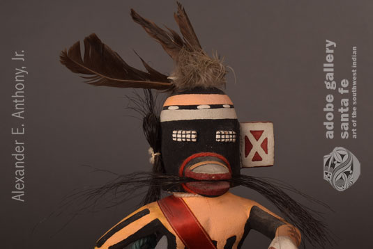 Close up view of the face of this Hoip Pueblo Katsina Doll.