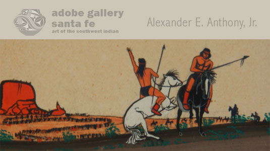 Three of these Indians—pictured, gracefully and skillfully, in line with one another and headed directly towards the viewer—are holding rifles and wearing ammunition belts.  Behind them are two men on horseback carrying spears.  They appear to be either in conflict with each other or signaling away from the viewer, towards a long line of people that is visible in the painting's lower left corner.