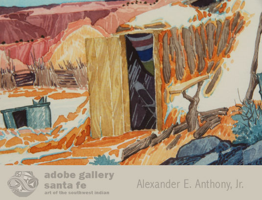 His colorful paintings often include a traditional Navajo home site, including a hogan and an outside ramada for shade. In most of his pieces is a small folding chair, popularly regarded as Baje's personal trademark. Can you find the chair?
