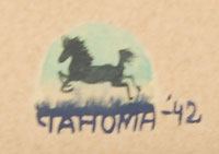 Tahoma included, as per his usual, a small image above the signature that informs the viewer of what will happen next.  Here, we see the horse in full stride.