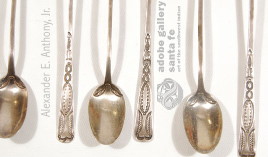 Close up view of the stamp work on these spoons.