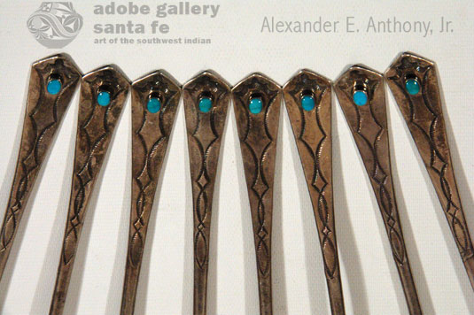 Close up view of the Turquoise Handles of the ice tea spoons.